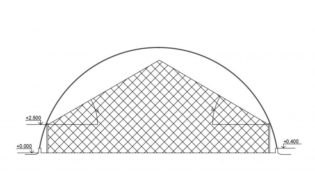 Чертеж бескаркасного ангара с фальш-стеной 2.5 м