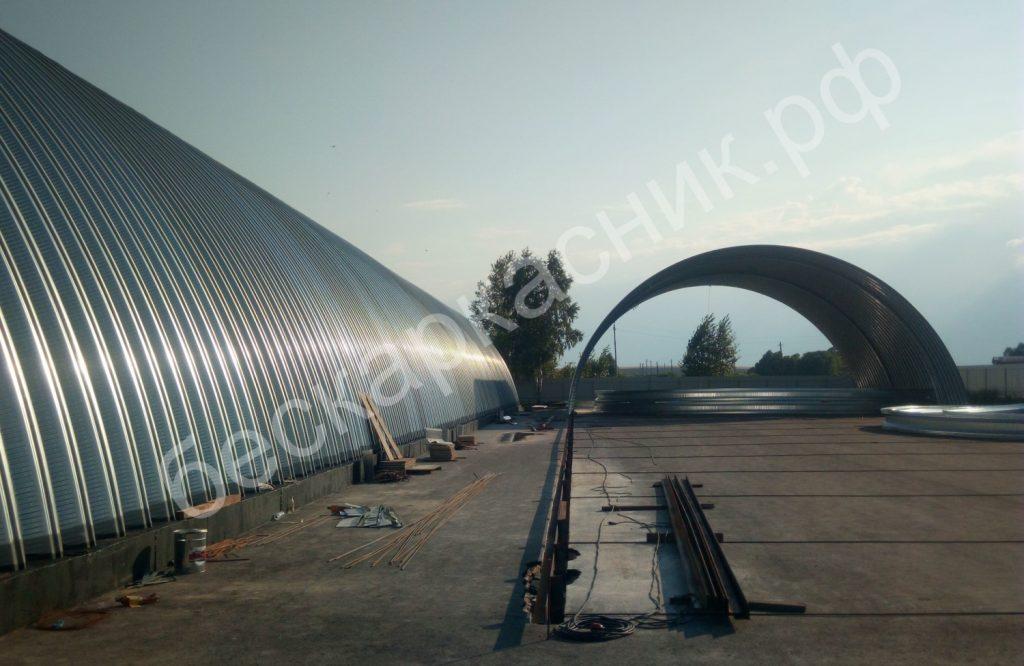 Технология строительства бескаркасных арочных ангаров